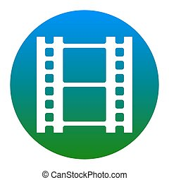 Reel of film sign. Vector. White icon in bluish circle on...