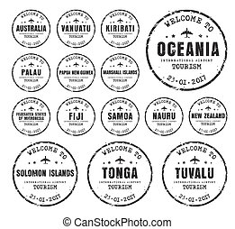Set of old stamps with the name of the cores Oceania.