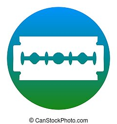 Razor blade sign. Vector. White icon in bluish circle on white background. Isolated.