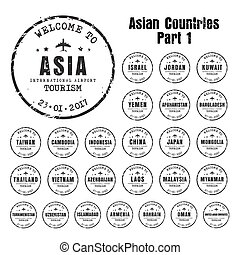 old stampst with the name of the Asian countries.