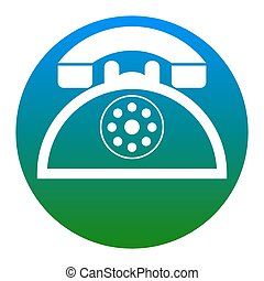 Retro telephone sign. Vector. White icon in bluish circle on...