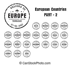 old worn stamps with the name of the European countries