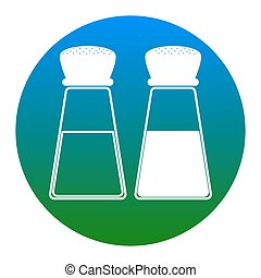 Salt and pepper sign. Vector. White icon in bluish circle on...