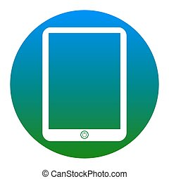Computer tablet sign. Vector. White icon in bluish circle on...