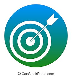 Target with dart. Vector. White icon in bluish circle on...