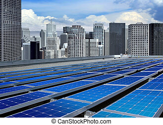 modern solar panels - solar panels on the roof of modern...
