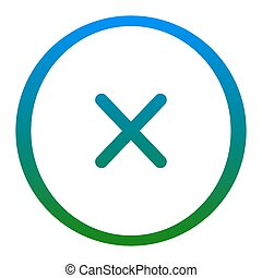 Cross sign illustration. Vector. White icon in bluish circle...