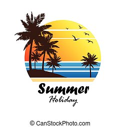 summer vacation on tropical beach Sunset label, with Palm...