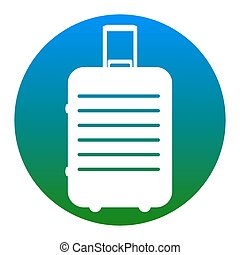 Baggage sign illustration. Vector. White icon in bluish circle on white background. Isolated.