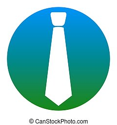 Tie sign illustration. Vector. White icon in bluish circle...