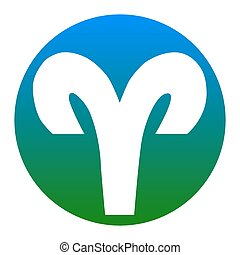 Aries sign illustration. Vector. White icon in bluish circle...