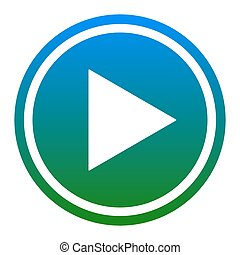 Play sign illustration. Vector. White icon in bluish circle...