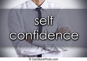 self confidence - Young businessman with text - business...