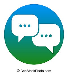 Speech bubbles sign. Vector. White icon in bluish circle on...