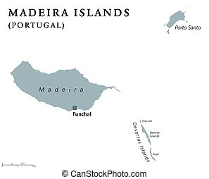 Madeira Islands political map with capital Funchal....