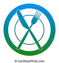 Fork, Knife and Plate sign. Vector. White icon in bluish...