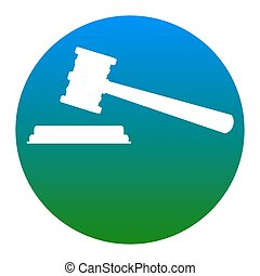 Justice hammer sign. Vector. White icon in bluish circle on...