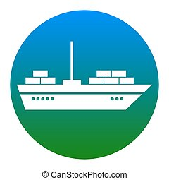 Ship sign illustration. Vector. White icon in bluish circle...