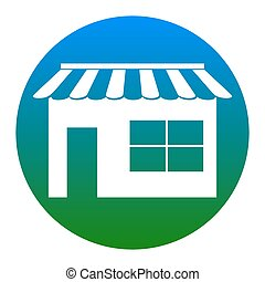 Store sign illustration. Vector. White icon in bluish circle...
