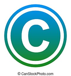 Copyright sign illustration. Vector. White icon in bluish...