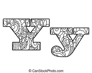 Anti coloring book alphabet, the letter Y vector...