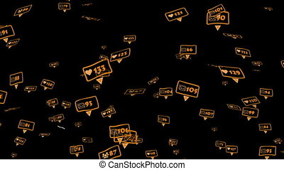Orange icons of social media notifications of friends,...
