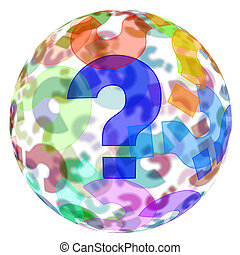 question marks background - an sphere with question marks of...