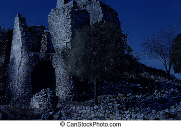 Remnants of Crusader castle in Israel at night. The Yehiam...