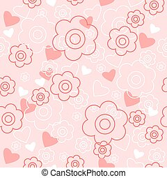 Cute floral background with hearts and flowers - Cute floral...