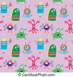 Cute seamless pattern with cheerful smiley monsters