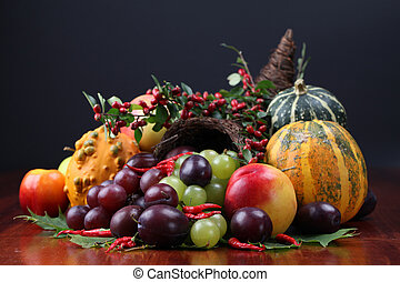 Cornucopia - Autumn cornucopia - symbol of food and...
