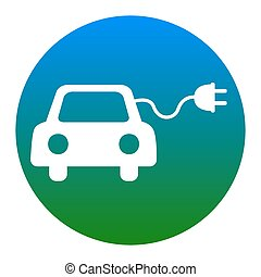 Eco electric car sign. Vector. White icon in bluish circle...