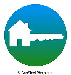 Home Key sign. Vector. White icon in bluish circle on white...