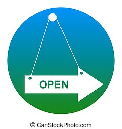 Open sign illustration. Vector. White icon in bluish circle...