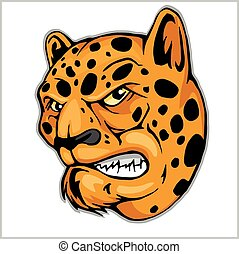 Angry Leopard mascot - vector illustration isolated on white