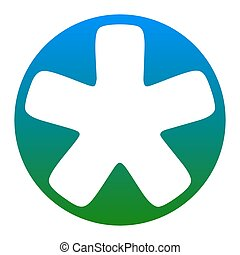 Asterisk star sign. Vector. White icon in bluish circle on...