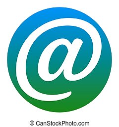 Mail sign illustration. Vector. White icon in bluish circle...