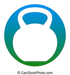 Fitness Dumbbell sign. Vector. White icon in bluish circle...