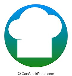 Chef cap sign. Vector. White icon in bluish circle on white...