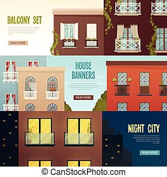 Balcony House Banners Set - Three balcony banners set with...