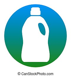 Plastic bottle for cleaning. Vector. White icon in bluish...