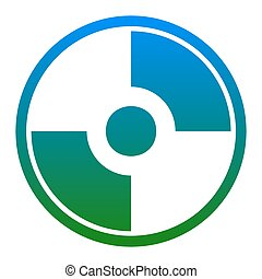 Vector CD or DVD sign. Vector. White icon in bluish circle...