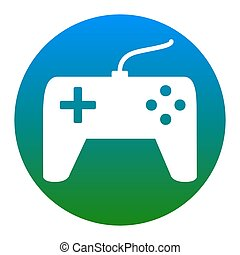 Joystick simple sign. Vector. White icon in bluish circle on...