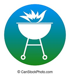 Barbecue with fire sign. Vector. White icon in bluish circle...