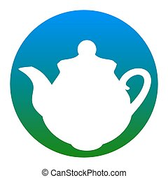 Tea maker Kitchen sign. Vector. White icon in bluish circle...
