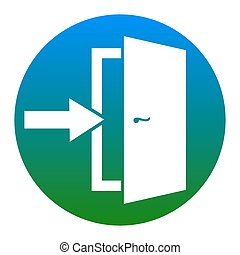 Door Exit sign. Vector. White icon in bluish circle on white...