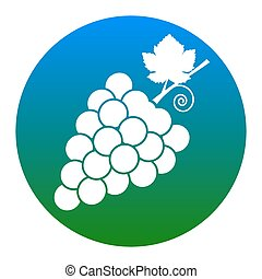 Grapes sign illustration. Vector. White icon in bluish...