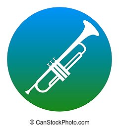 Musical instrument Trumpet sign. Vector. White icon in...