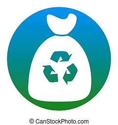 Trash bag icon. Vector. White icon in bluish circle on white...