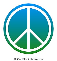 Peace sign illustration. Vector. White icon in bluish circle...